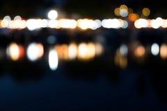 从城市夜光提取被弄脏的bokeh背景 免版税库存照片