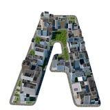 从城市字体汇集的都市A信件 免版税库存照片