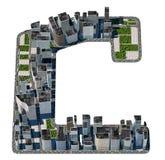 从城市字体汇集的都市C信件 免版税库存图片