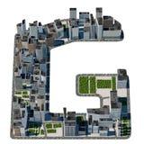从城市字体汇集的都市G信件 免版税库存图片