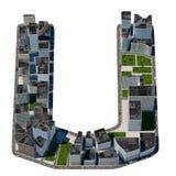 从城市字体汇集的都市u信件 免版税图库摄影
