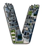 从城市字体汇集的都市V信件 免版税库存图片