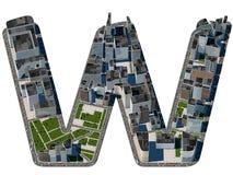 从城市字体汇集的都市W信件 免版税库存图片