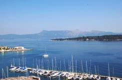 从堡垒的视图在Kerkyra,科孚岛,希腊 免版税库存照片