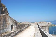 从堡垒的视图在Kerkyra,科孚岛,希腊 免版税库存图片
