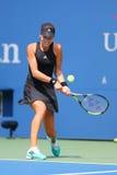 从塞尔维亚的全垒打冠军安娜・伊万诺维奇在美国公开赛2014首先回合比赛期间 免版税库存照片
