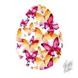 从多彩多姿的蝴蝶的复活节彩蛋 免版税库存图片