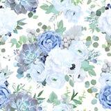 从多灰尘的蓝色庭院的无缝的传染媒介设计样式上升了,丝毫 库存例证
