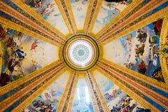 从大圆屋顶的马德里- Fesco在大教堂de重创的旧金山el 免版税库存照片