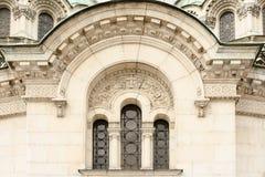 从大教堂门面的结构上详细资料  免版税库存照片