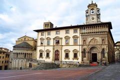 从大正方形采取的阿雷佐观点-阿雷佐-托斯卡纳-意大利 库存照片