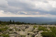 从大Nurgush的山的看法 免版税库存照片