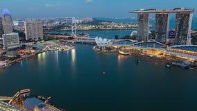 从天到夜新加坡都市风景日落定期流逝 平底锅 股票视频