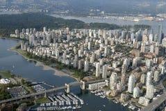 从天空的温哥华市 库存图片