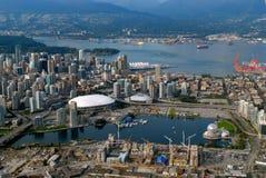 从天空的温哥华港口 免版税库存照片