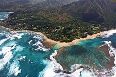 从天空的Hanalei海湾 库存图片