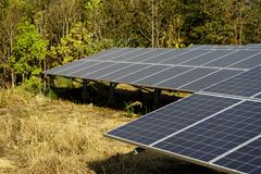 从太阳光的太阳农厂绿色能量 免版税库存图片