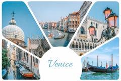 从威尼斯-长平底船,运河,与桃红色玻璃,推托宫殿,套旅行图片,威尼斯,意大利的街灯的照片拼贴画 库存照片