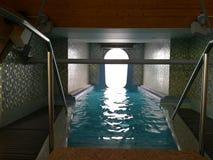 从室外水滑道-室内走廊退出 库存图片
