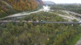 从寄生虫的空中,顶视图:火车运载一个击倒的森林 股票录像