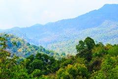 从小山的顶端美好的风景在泰国 库存图片