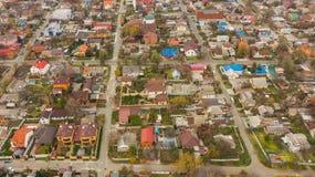 从屋顶寄生虫的都市概略的看法在Dnipro市 免版税库存照片