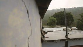 从屋顶的雨下落 股票视频