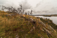 从山的视图在秋天湖 免版税库存照片