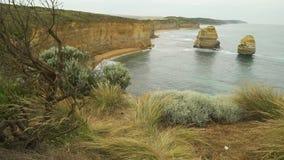 从峭壁的风景看法在十二位传道者在澳大利亚 股票视频
