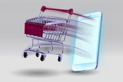 从巧妙的电话的微型推车购物突然说出 概念购物 图库摄影