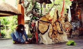 从巴厘岛,印度尼西亚的Barong舞蹈 免版税图库摄影
