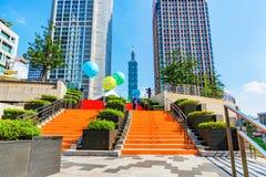从市政厅的台北101视图 免版税库存照片