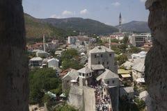 从市的看法莫斯塔尔的顶端 免版税库存照片