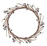 从干燥枝杈的圆的花圈 免版税图库摄影