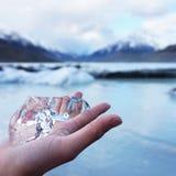 从库克山,新西兰的冰晶 免版税图库摄影