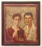 从庞贝城,曼博物馆,那不勒斯的壁画 库存照片