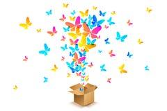 从开放纸板箱的蝴蝶 库存例证