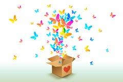 从开放纸板箱的蝴蝶 向量例证