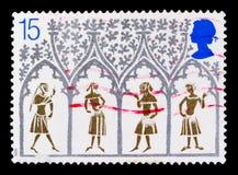 从彩色玻璃窗,圣诞节的14世纪农民1989年-伊利大教堂serie 800th周年,大约1989年 图库摄影
