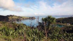 从怀希基岛的顶端港口视图在新西兰 免版税库存照片