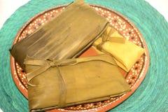 从恰帕斯州和瓦哈卡状态的传统墨西哥玉米粽子坎德拉里亚角天庆祝的 库存图片