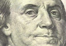 从我们的本杰明・富兰克林画象100美元 免版税图库摄影