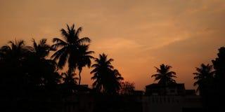 从我的阳台的飘渺日落! 库存图片
