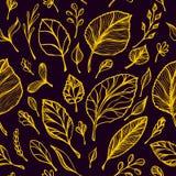 从手叶子金子凹道结构的无缝的样式在黑色的在线艺术 库存照片