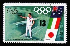 从手枪的射击,奥运会在墨西哥,大约1968年 免版税图库摄影