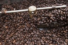 从拌入冷却的圆筒的大老咖啡烘烤器的新近地烤咖啡豆 库存照片