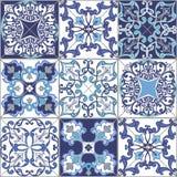 从摩洛哥,蓝色颜色的葡萄牙的汇集无缝的补缀品样式瓦片 库存图片