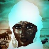 从撒哈拉沙子的神奇黑人阿拉伯妇女 库存例证