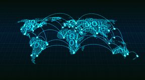 从数字式二进制编码在栅格背景,环球网交易在城市之间和国家的抽象世界地图 库存图片
