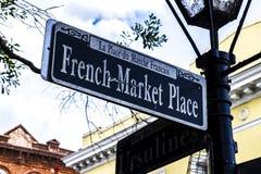 从新奥尔良的法国市场标志 免版税库存图片